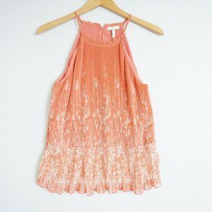 Joie Womens Tank Top Salmon Pink White Floral Pleated Ruched Polyester Sz Small